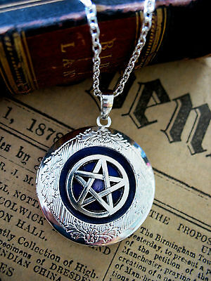 Pentagram LOCKET Necklace Pendant Gothic Silver Fantasy Wicca Pagan Magic Hallow