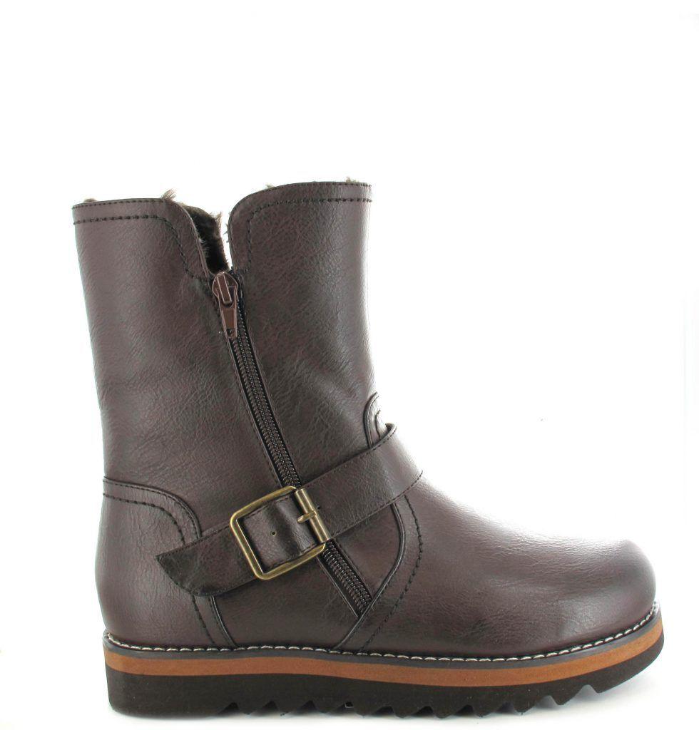 Ella shoes Walnut Ankle Faux Leather Fur Vegan Boots Winter Zip Brown L87