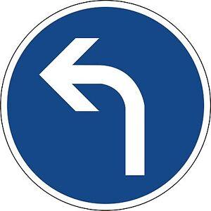 Verkehrszeichen-209-10-Vorgeschriebene-Fahrtrichtung-links-in-420mm-amp-600mm