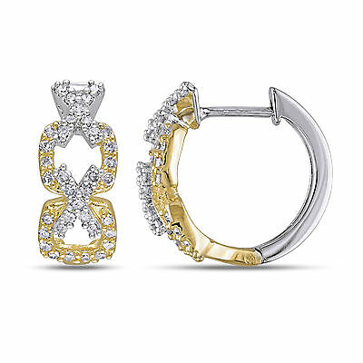 Amour Sterling Silver 1/3 Ct TDW Diamond Cuff Hoop  Earrings H-I I2-I3
