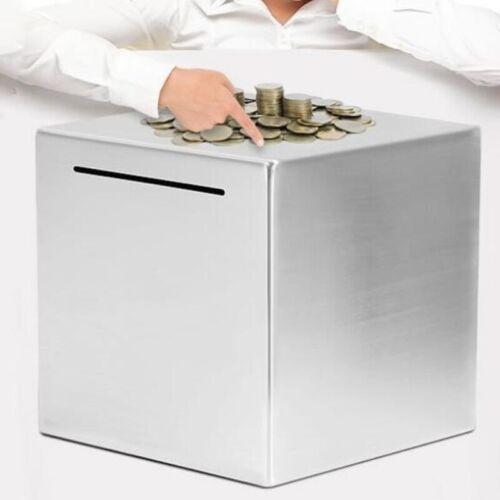 Safe Piggy Bank Made of Stainless Steel,Safe Box Money Savings Bank for Ki H0R4
