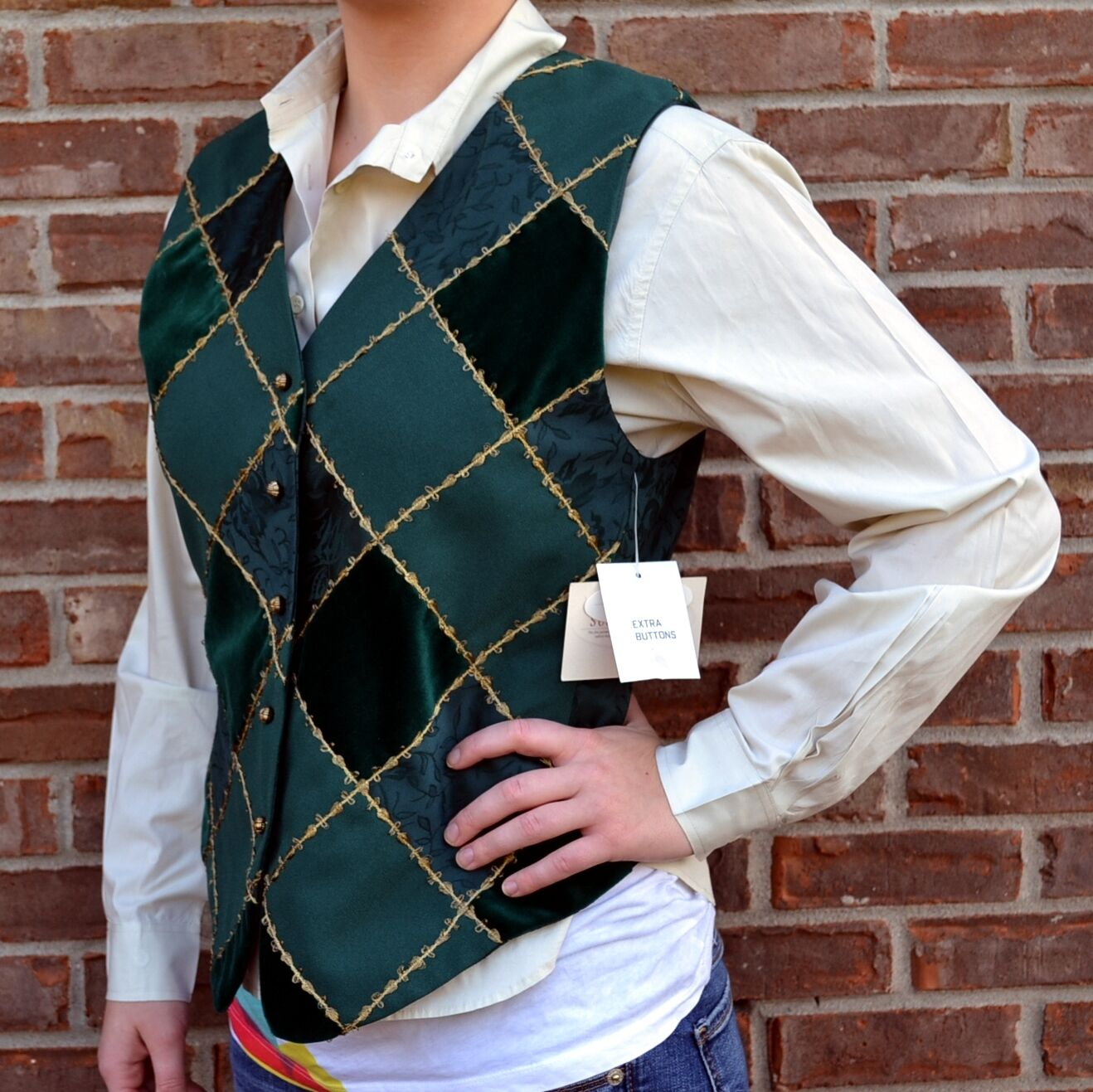 VTG Susan Bristol Holiday Vest Evergreen Windowpane Green & gold Brocade Velour