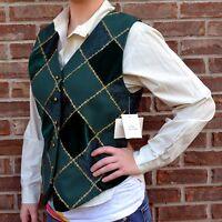 Vtg Susan Bristol Holiday Vest Evergreen Windowpane Green & Gold Brocade Velour