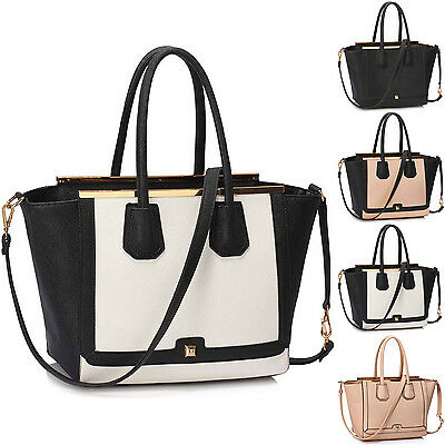 Ladies Leatherette Stud Tote Medium Grab Handbags Designer Women Shoulder Bag UK
