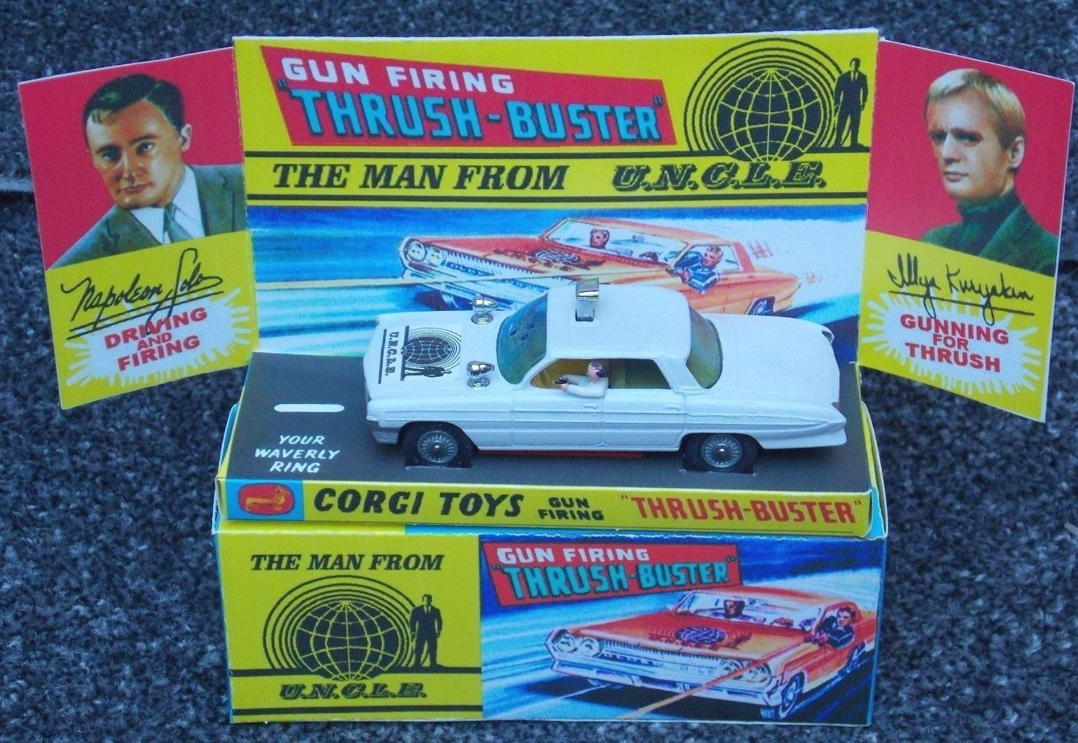CORGI CORGI 497 MAN FROM UNCLE OLDMOBILE FULLY RESTORED WITH REPRODUCTION BOX..