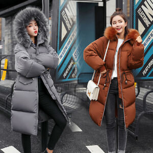 Women-039-s-Winter-Long-Down-Cotton-Parka-Puffer-Hooded-Coat-Quilted-Jacket-Outwear