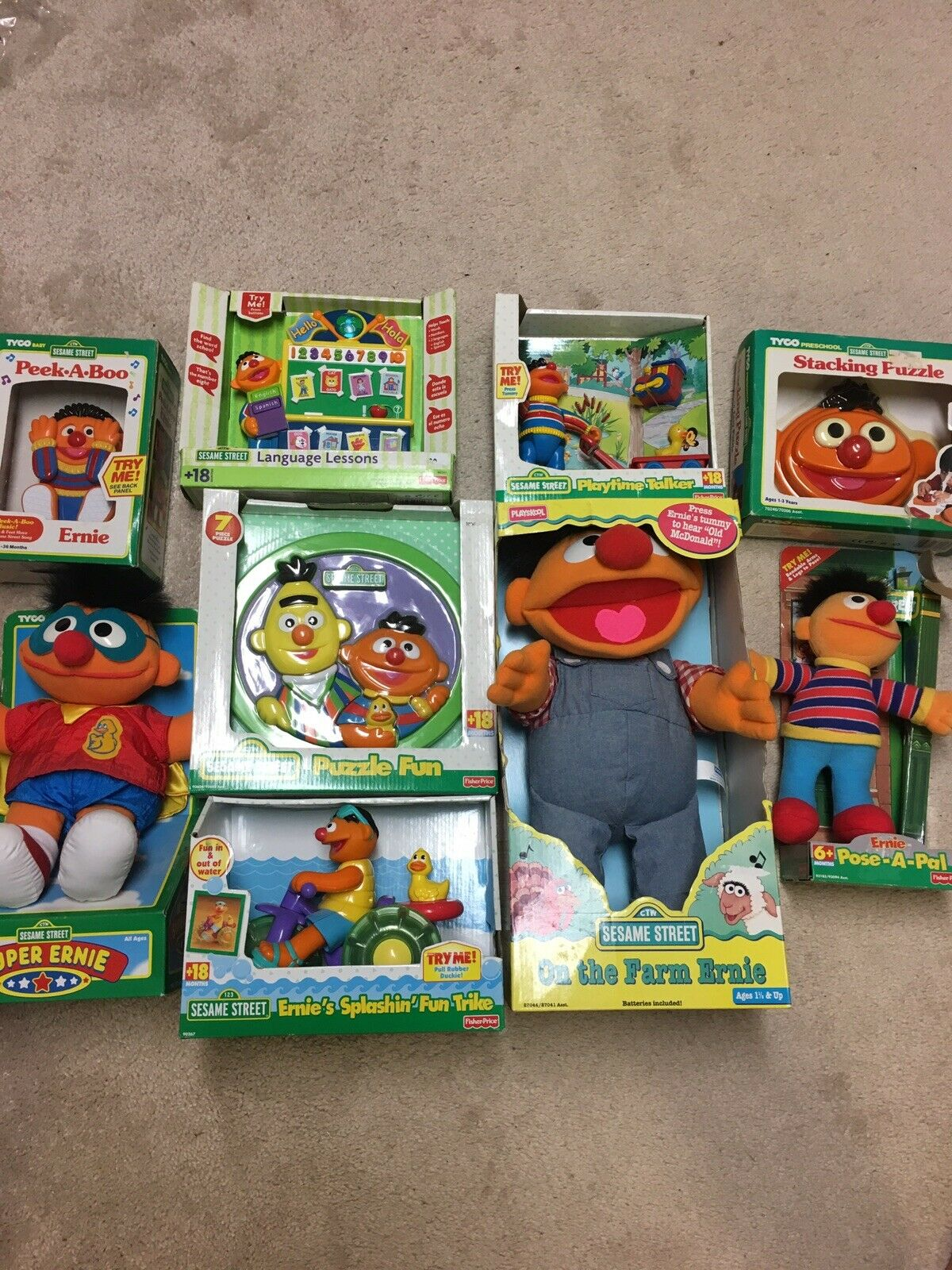Sesame Street Ernie Upened 1990s Vintage Toy Lot Of 9 Playskool, Tyco, Fisher Pr