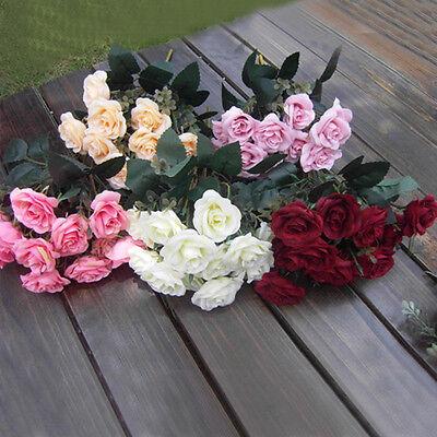 Artificial 1 Bouquet / 12 Heads Silk Rose Flower Leaf Wedding Party Bridal Decor