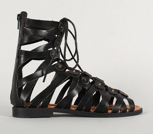 Womens Lace Up Peep Toe Gladiator Flat Sandals Shoes PU-Leather Cut Out Zipper