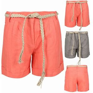 747665ffca9 Women Ladies Cotton Linen Shorts Turn Up Hem Loose Casual Belted Hot ...