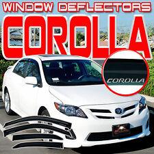 Corolla 08-13 E140 4 Door Side Window Vent Visors Sun Rain Deflectors with Logo