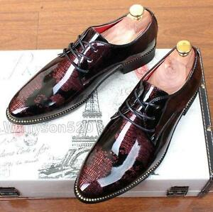 Men-039-s-Casual-Pointed-patent-Leather-Lace-Up-Wedding-Formal-Dress-Shoes-Oxfords