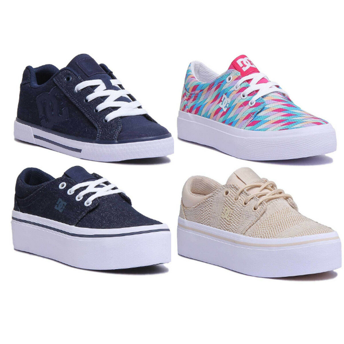 Dc Denim Shoes Trase Platform Womens Denim Dc Canvas Trainer Size UK 3 - 8 3f9e40