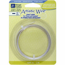 Artistic Wire Flat Wire, 21 Gauge, 5mm Wide, 3 Foot Coil, Non Tarnish Silver