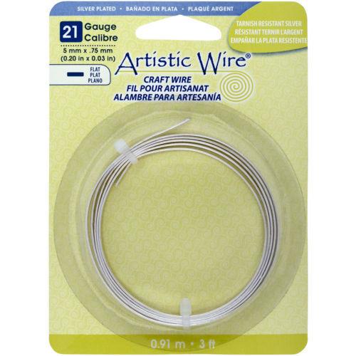 Calibre 21 no deslustre Plata 3 ft 5 mm de ancho bobina approx. 0.91 m Artistic Wire Alambre Plano