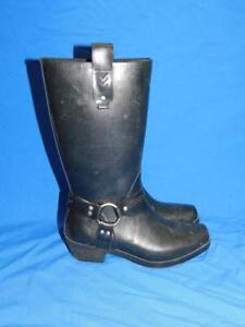 Bogs-7-Black-Tall-Dakota-Harness-Rain-Boots-Rubber-Motorcycle-Western-Woman-EU38