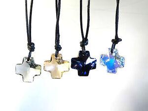Kristallkreuz an 45cm Lederkette oder Anhänger mit SWAROVSKI ® Kristall 20mm 2cm