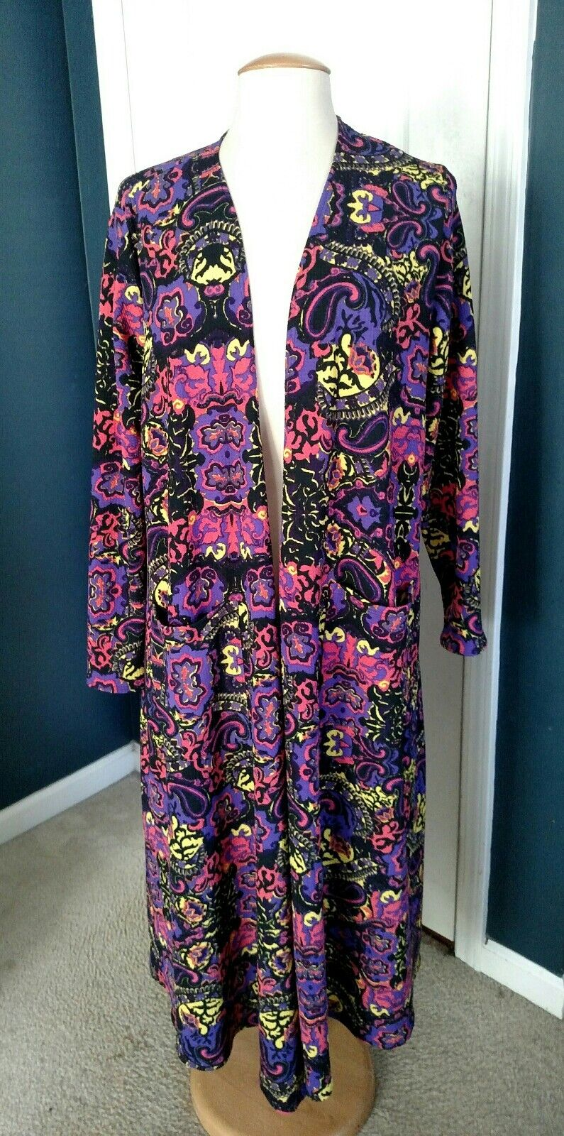 LulaRoe Sarah Large, Purple Multi-color Paisley, NWT