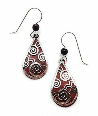 Adajio-DEEP-RED-Teardrop-EARRINGS-7423-Filligree-STERLING-Silver-Gift-Box