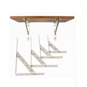 1 pair stainless steel wall shelf brackets triangle folding angle