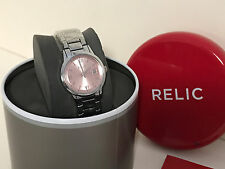 NEW ARRIVAL! RELIC by FOSSIL DYLAN PINK DIAL SILVER-TONE BRACELET WATCH ZR34358