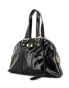 56574d8b63 YSL Authentic Saint Laurent Patent Leather Muse Medium Bag Dome tote ...