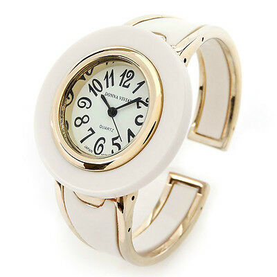 New White Gold Acrylic Band Large Face Women's Bangle Cuff Watch