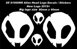 REFLECTIVE S1000RR Alien Head Logo Decals Stickers BMW HP4 NEW Logo 2015 4 PCS