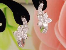 18K REAL WHITE GOLD FILLED FLOWER HOOP EARRINGS MADE WITH SWAROVSKI CRYSTALS