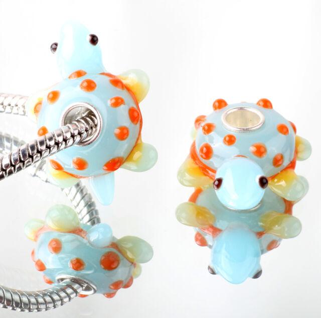 1pcs SILVER MURANO GLASS BEAD LAMPWORK Animal fit European Charm Bracelet DW305