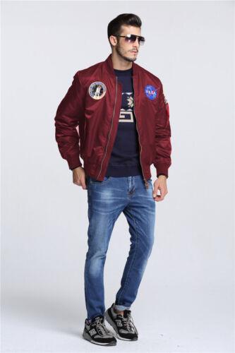 Men/'s Jackets MA-1 NASA letterman varsity american ollege bomber flight jacket