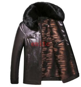 Men-039-s-Leather-Coat-Faux-Fur-Collar-Warm-Fur-Lined-Mens-Casual-Outwear-Chic-New