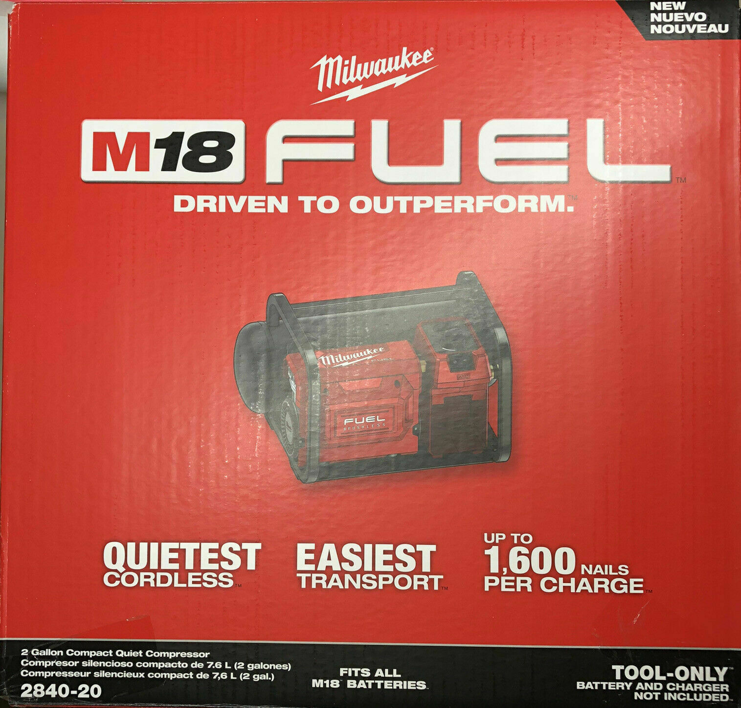 Milwaukee 2840-20 M18 FUEL 18V Brushless Cordless 2 Gal Compact Quiet Compressor. Buy it now for 328.70
