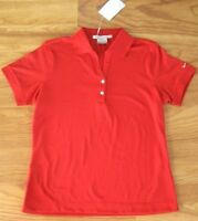Nike Fit Dry Womens Golf Shirt L 12 14 Red Dri Large Polo
