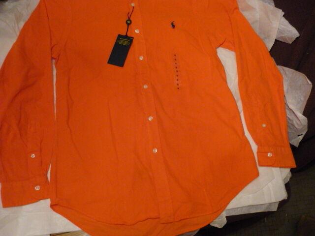 RALPH LAUREN  men's shirt  L S Bright orange Corduroy Small NWT