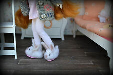 doll shoes slippers bunny Blythe Barbie licca basaak felted hand made
