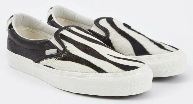fcf8b9744c VANS VAULT OG SLIP ON 59 LX PONY HAIR ZEBRA 8.5 FUR ANIMAL black marshmallow