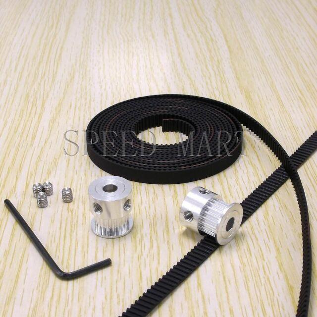 2 x GT2 Aluminum Timing Pulley & 2m Belt for RepRap Prusa Mendel 3D Printer