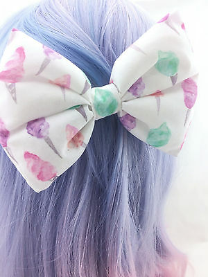 Pastel Sweet Fairy Floss Printed on White Large Hair Bow Cute /& Girly Hair Clip