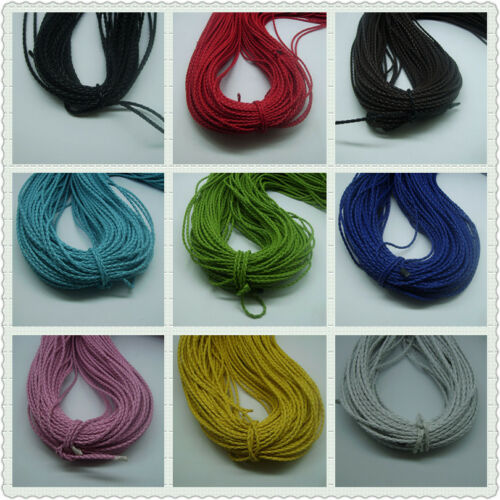5//20 m 3mm Beautiful Bolo woven leather rope necklace bracelet with 9 Color