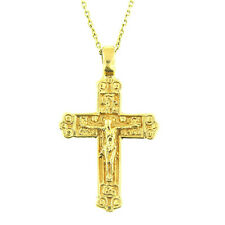 14 Kt Yellow Gold Unisex Russian Orthodox Cross Crucifix Pendant Necklace