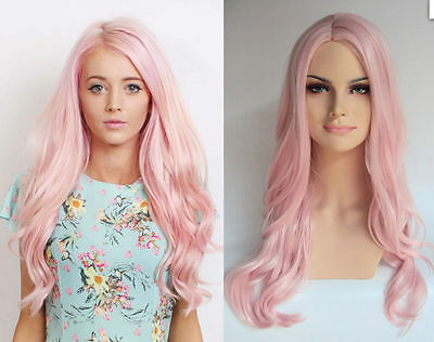 2017 WOMEN'S LONG PASTEL PINK CURLY HEAT RESISTANT FASHION WIGS+gift