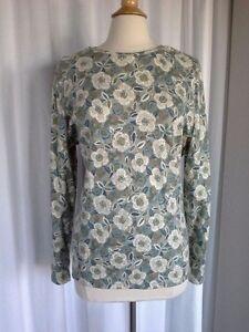 SIZE-XL-NEW-36-00-STUDIO-WORKS-Soft-Moss-Green-Ivory-Blue-Flowered-Top-Shirt