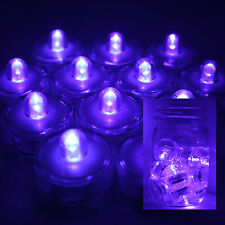 PURPLE 12 LED Submersible Waterproof Wedding Floral Decoration Tea Lights