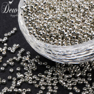 2mm-Silver-Glass-Seed-Beads-Silver-50g-for-Necklaces-Bracelets-FREE-POSTAGE