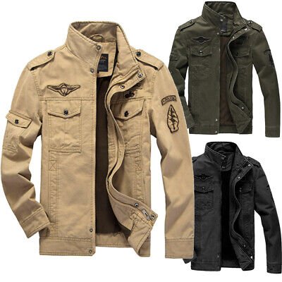 Male Solid Long Sleeve Plus Size Military Clothing Tactical Outwear Men Winter Jacket Coat