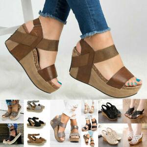 Details about Girl Womens High Heels Platform Wedge Sandals Espadrilles Summer Shoes Size