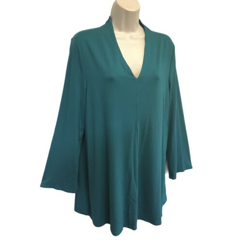 Eileen Fisher Teal Green Viscose Jersey Knit Tunic Top NWT Size M Long Sleeve