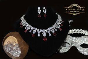 2 Tlg. Zirkonia Aaa+ Schmuckset Halskette Ohrringe brautschmuck Xl Silber Rot Dauerhaft Im Einsatz