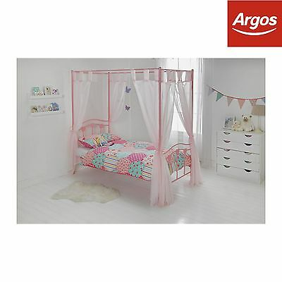 HOME Hearts Single Four Poster Bed Frame - Pink.